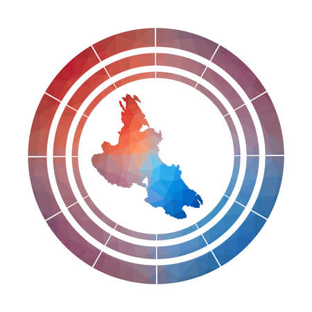 Krk badge. Bright gradient logo of island in low poly style. Multicolored Krk rounded sign with map in geometric style for your infographics.
