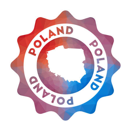 Poland low poly logo. Colorful gradient travel logo of the country in geometric style. Multicolored polygonal Poland rounded sign with map for your infographics. Illusztráció