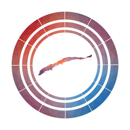 Roatan badge. Bright gradient logo of island in low poly style. Multicolored Roatan rounded sign with map in geometric style for your infographics. Illustration