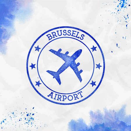 Brussels Airport logo. Airport stamp watercolor vector illustration. Brussels aerodrome.