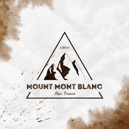 Mont Blanc logo. Triangular mountain sepia vector insignia. Mont Blanc in Alps, Italy outdoor adventure illustration.