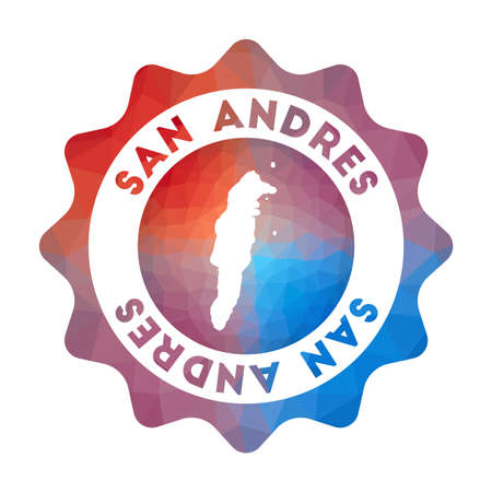 San Andres low poly logo. Colorful gradient travel logo of the island in geometric style. Multicolored polygonal San Andres rounded sign with map for your infographics.