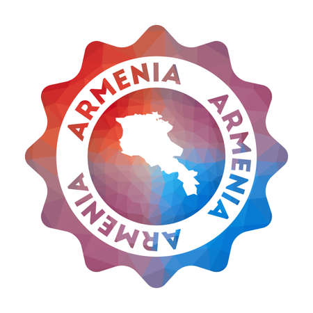Armenia low poly logo. Colorful gradient travel logo of the country in geometric style. Multicolored polygonal Armenia rounded sign with map for your infographics. Illustration
