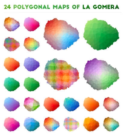 Set of vector polygonal maps of La Gomera. Bright gradient map of island in low poly style. Multicolored La Gomera map in geometric style for your infographics.