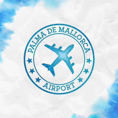 Palma De Mallorca Airport logo. Airport stamp watercolor vector illustration. Palma De Mallorca aerodrome.