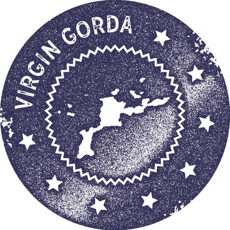 Virgin Gorda map vintage stamp. Retro style handmade label, badge or element for travel souvenirs. Deep purple rubber stamp with island map silhouette. Vector illustration.