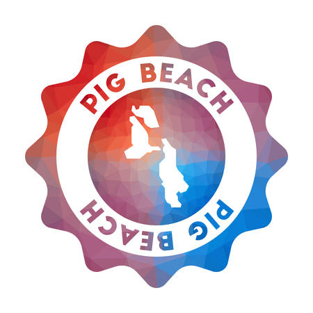 Pig Beach low poly logo. Colorful gradient travel logo of the island in geometric style. Multicolored polygonal Pig Beach rounded sign with map for your infographics.