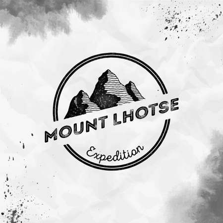 Lhotse logo. Round expedition black vector insignia. Lhotse in Himalayas, Nepal outdoor adventure illustration. Climbing, trekking, hiking, mountaineering and other extreme activities logo template. Illustration