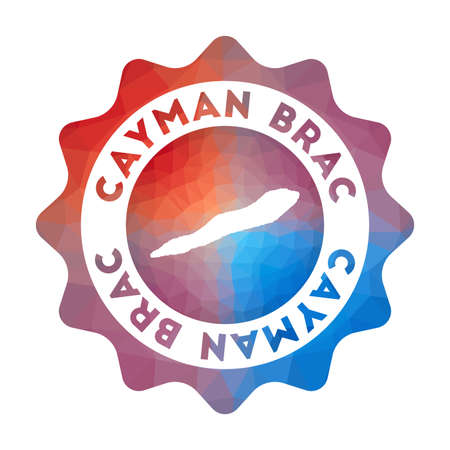 Cayman Brac low poly logo. Colorful gradient travel logo of the island in geometric style. Multicolored polygonal Cayman Brac rounded sign with map for your infographics.