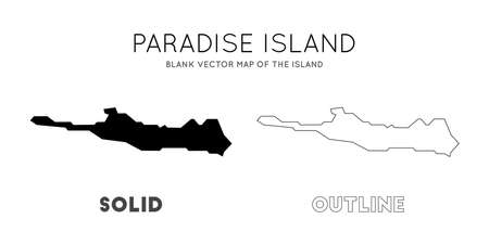 Paradise Island map. Blank vector map of the Island. Borders of Paradise Island for your infographic. Vector illustration. Vetores