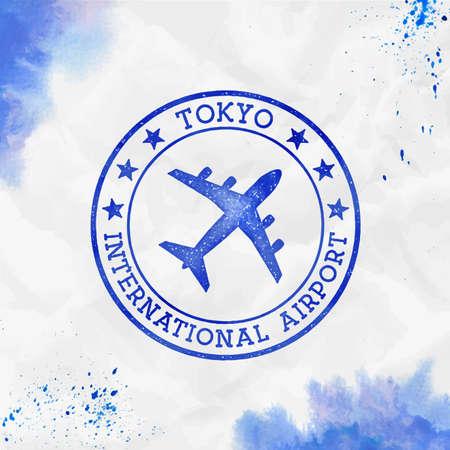 Tokyo International Airport logo. Airport stamp watercolor vector illustration. Tokyo aerodrome.