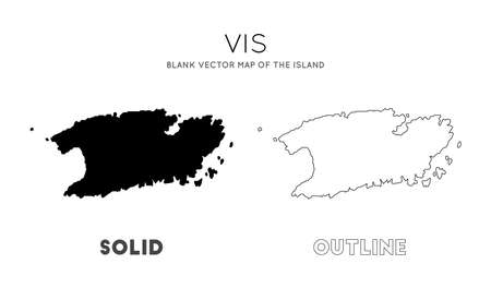 Vis map. Blank vector map of the Island. Borders of Vis for your infographic. Vector illustration. 矢量图像