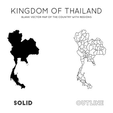 Thailand map. Blank vector map of the Country with regions. Borders of Thailand for your infographic. Vector illustration.