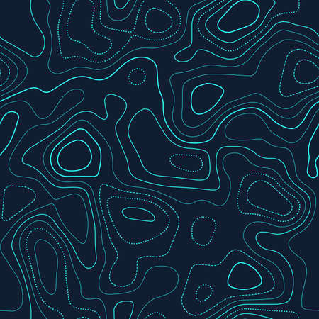 Topographic map. Actual topography map. Futuristic seamless design, bold tileable isolines pattern. Vector illustration.