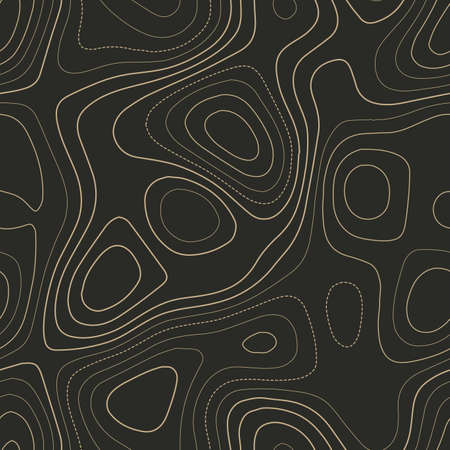 Contour lines. Admirable topography map. Seamless design. Favorable tileable isolines pattern, vector illustration.