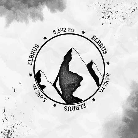Elbrus logo. Round stamp black vector insignia. Elbrus in Caucasus, Russia outdoor adventure illustration. Climbing, trekking, hiking, mountaineering and other extreme activities logo template.