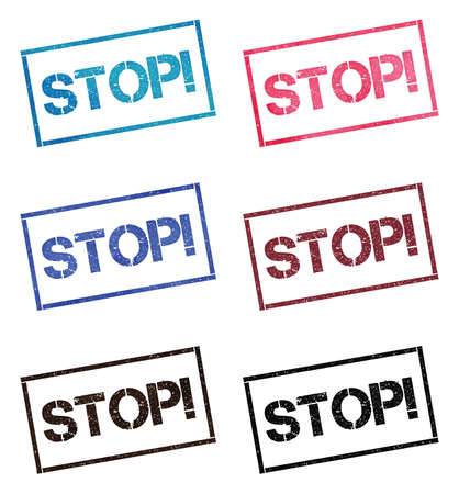 Stop!. Rectangular stamp collection. Textured seals with text isolated on white backgound. Stamps in turquoise, red, blue, black and sepia colors. Colourful watercolor style vector illustration.