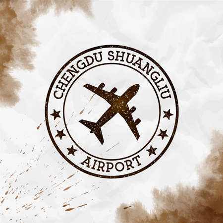 Chengdu Shuangliu Airport logo. Airport stamp watercolor vector illustration. Chengdu aerodrome.