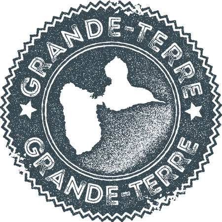Grande-Terre map vintage stamp. Retro style handmade label, badge or element for travel souvenirs. Dark blue rubber stamp with island map silhouette. Vector illustration.