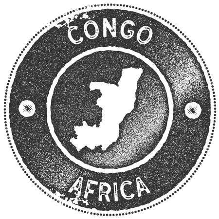 Congo map vintage stamp. Retro style handmade label, badge or element for travel souvenirs. Dark grey rubber stamp with country map silhouette. Vector illustration.