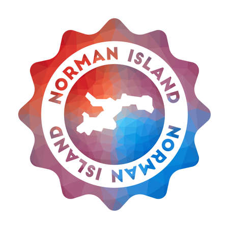 Norman Island low poly logo. Colorful gradient travel logo of the island in geometric style. Multicolored polygonal Norman Island rounded sign with map for your infographics.
