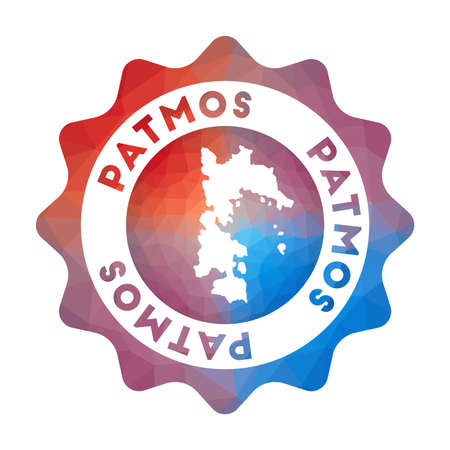 Patmos low poly logo. Colorful gradient travel logo of the island in geometric style. Multicolored polygonal Patmos rounded sign with map for your infographics.