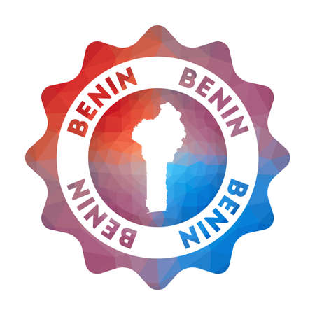 Benin low poly logo. Colorful gradient travel logo of the country in geometric style. Multicolored polygonal Benin rounded sign with map for your infographics.