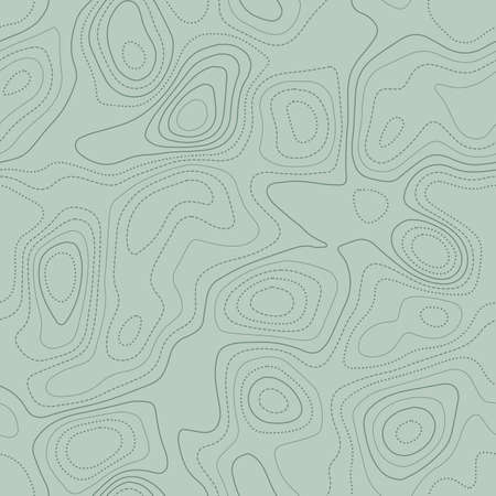 Amazing topography. Actual topographic map in green tones, seamless design, exotic tileable pattern. Vector illustration. Ilustracje wektorowe