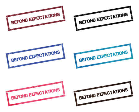 Beyond expectations rectangular stamp collection. Textured seals with text isolated on white backgound. Stamps in turquoise, red, blue, black and sepia colors.