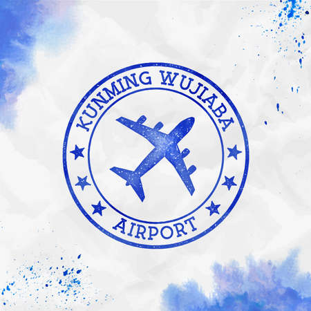 Kunming Wujiaba Airport logo. Airport stamp watercolor vector illustration. Kunming aerodrome. Ilustração
