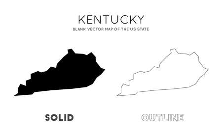 Kentucky map. Blank vector map of the Us State. Borders of Kentucky for your infographic. Vector illustration. Illustration