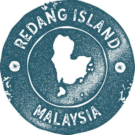 Redang Island map vintage stamp. Retro style handmade label, badge or element for travel souvenirs. Blue rubber stamp with island map silhouette. Vector illustration. Ilustracja