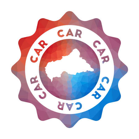 CAR low poly logo. Colorful gradient travel logo of the country in geometric style. Multicolored polygonal CAR rounded sign with map for your infographics.