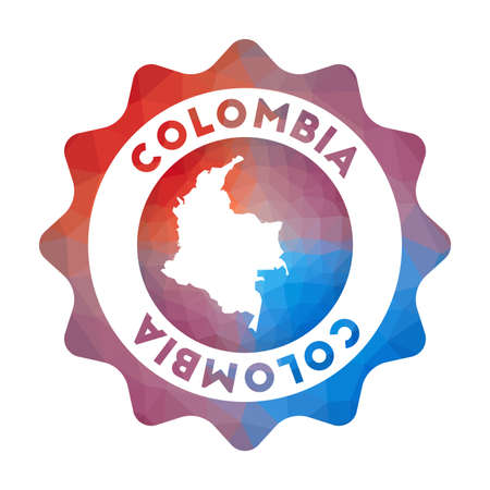 Colombia low poly logo. Colorful gradient travel logo of the country in geometric style. Multicolored polygonal Colombia rounded sign with map for your infographics.