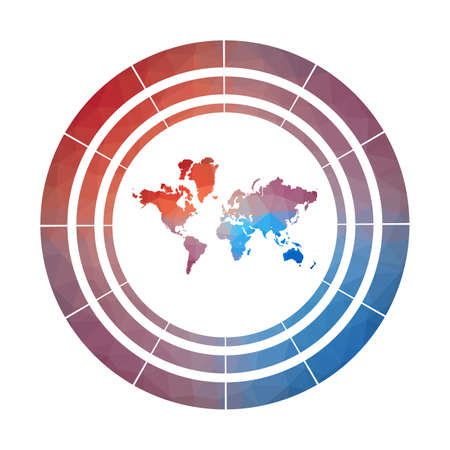 The World badge. Bright gradient logo of world in low poly style. Multicolored The World rounded sign with map in geometric style for your infographics.