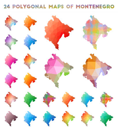 Set of vector polygonal maps of Montenegro. Bright gradient map of country in low poly style. Multicolored Montenegro map in geometric style for your infographics.