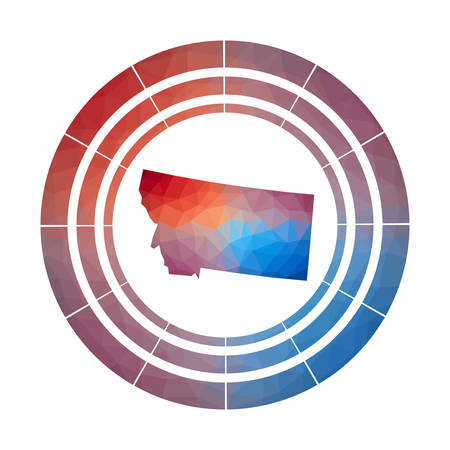 Montana badge. Bright gradient logo of us state in low poly style. Multicolored Montana rounded sign with map in geometric style for your infographics.