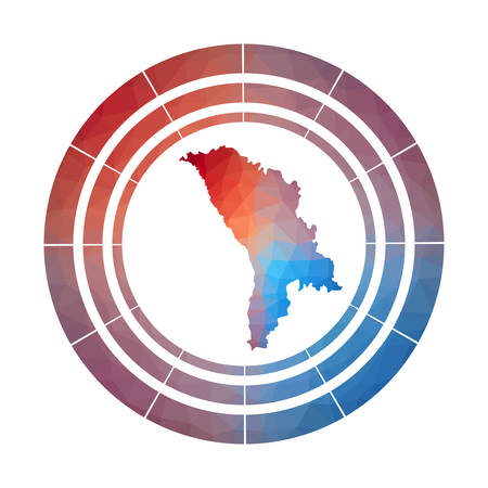 Moldova badge. Bright gradient logo of country in low poly style. Multicolored Moldova rounded sign with map in geometric style for your infographics.