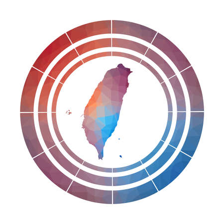 Taiwan badge. Bright gradient logo of country in low poly style. Multicolored Taiwan rounded sign with map in geometric style for your infographics.
