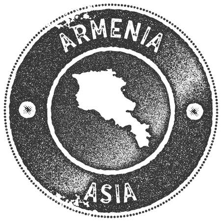 Armenia map vintage stamp. Retro style handmade label, badge or element for travel souvenirs. Dark grey rubber stamp with country map silhouette. Vector illustration.