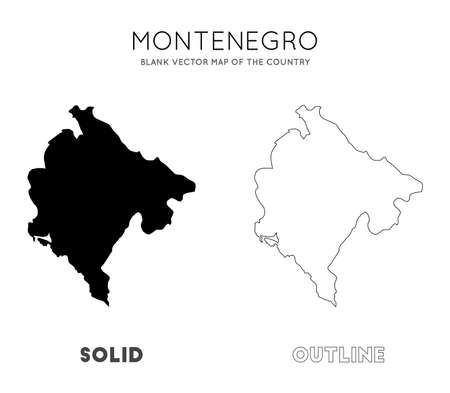 Montenegro map. Blank vector map of the Country. Borders of Montenegro for your infographic. Vector illustration. Ilustração