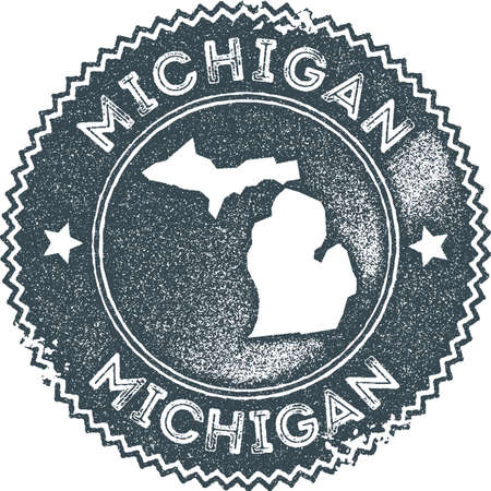 Michigan map vintage stamp. Retro style handmade label, badge or element for travel souvenirs. Dark blue rubber stamp with us state map silhouette. Vector illustration.