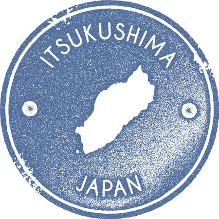 Itsukushima map vintage stamp. Retro style handmade label, badge or element for travel souvenirs. Light blue rubber stamp with island map silhouette. Vector illustration.