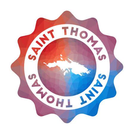 Saint Thomas low poly logo. Colorful gradient travel logo of the island in geometric style. Multicolored polygonal Saint Thomas rounded sign with map for your infographics.