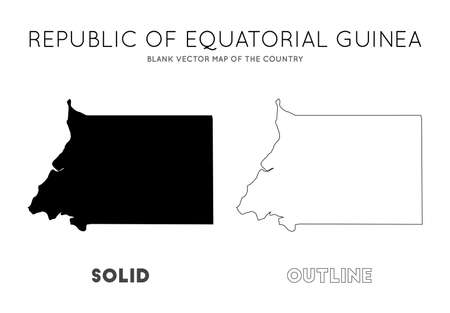 Equatorial Guinea map. Blank vector map of the Country. Borders of Equatorial Guinea for your infographic. Vector illustration.