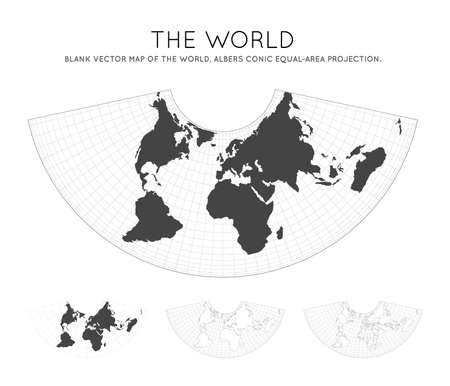 Map of The World. Albers conic equal-area projection. Globe with latitude and longitude lines. World map on meridians and parallels background. Vector illustration.