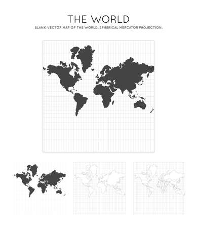 Map of The World. Spherical Mercator projection. Globe with latitude and longitude lines. World map on meridians and parallels background. Vector illustration.