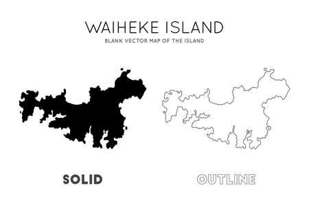 Waiheke Island map. Blank vector map of the Island. Borders of Waiheke Island for your infographic. Vector illustration.