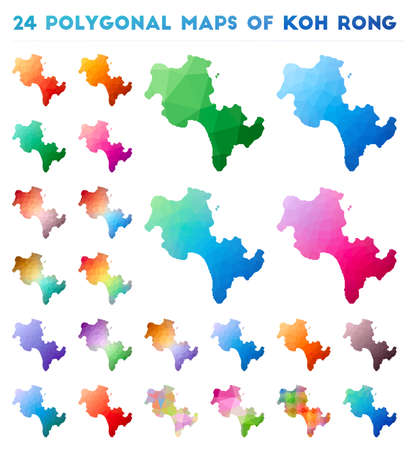 Set of vector polygonal maps of Koh Rong. Bright gradient map of island in low poly style. Multicolored Koh Rong map in geometric style for your infographics.