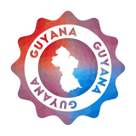 Guyana en estilo geométrico. Signo redondeado de Guyana poligonal multicolor con mapa para su infografía. Ilustración de vector